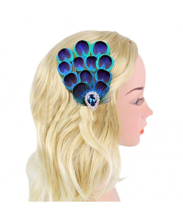 JoyVany Elegant Peacock Fascinator Blue