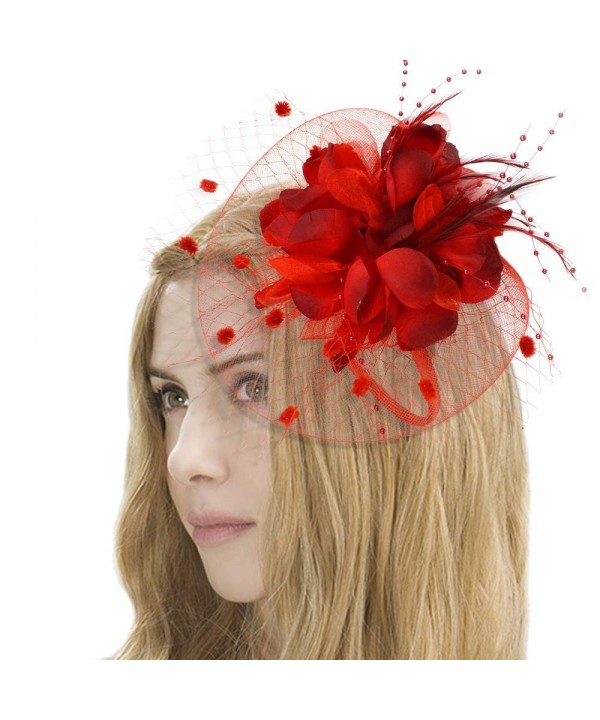 CHLONG Fascinators Headband Cocktail Party Red