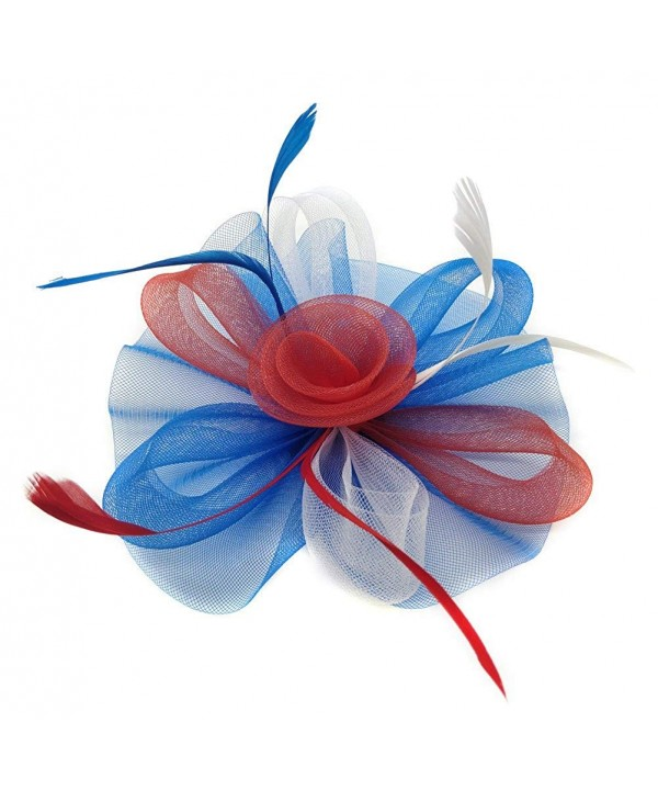 White Blue July Fascinator Headband
