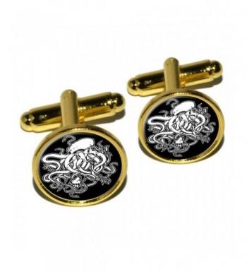 Cthulhu Round Cufflink Set Gold