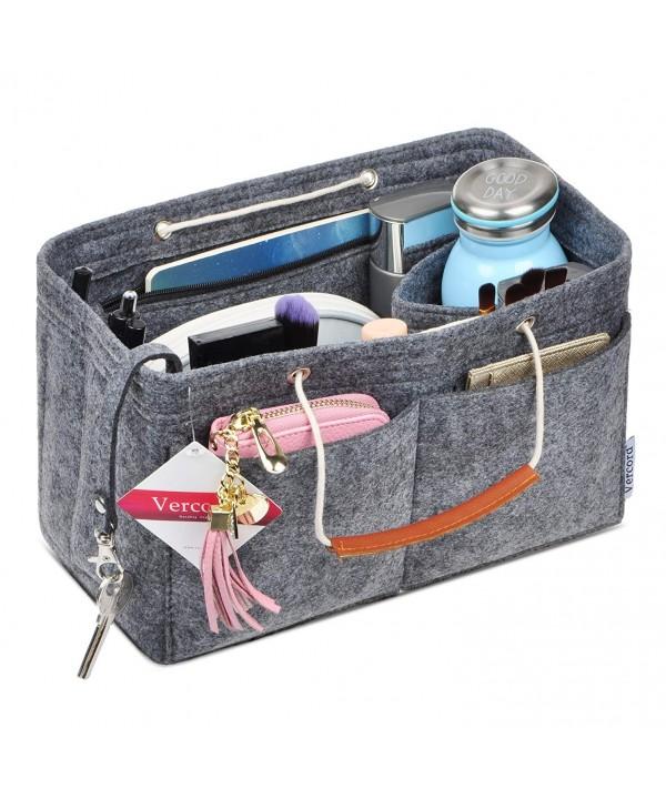Vercord Felt Purse Handbag Insert Organizer with Handle Keychain Multi Pocket Compartment