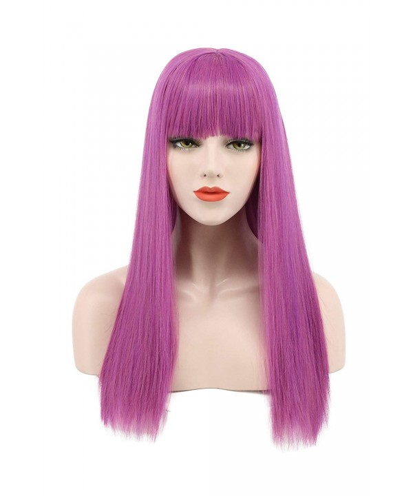 Long Straight Purple Flat Bang Cosplay Wig Halloween Costumes Party Wig ,  C0185GW7HXD