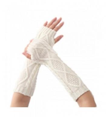 Women Fingerless Gloves Mittens 1 White