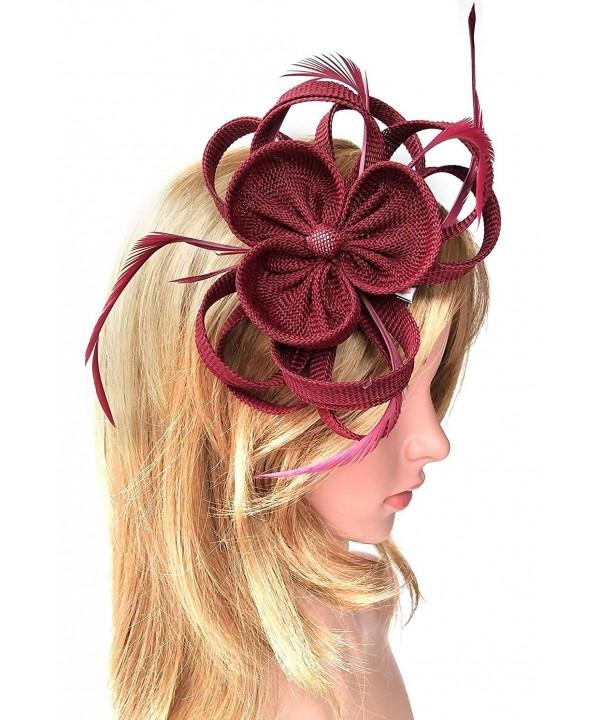 Fascinator Headband Imitation Sinamay Burgundy