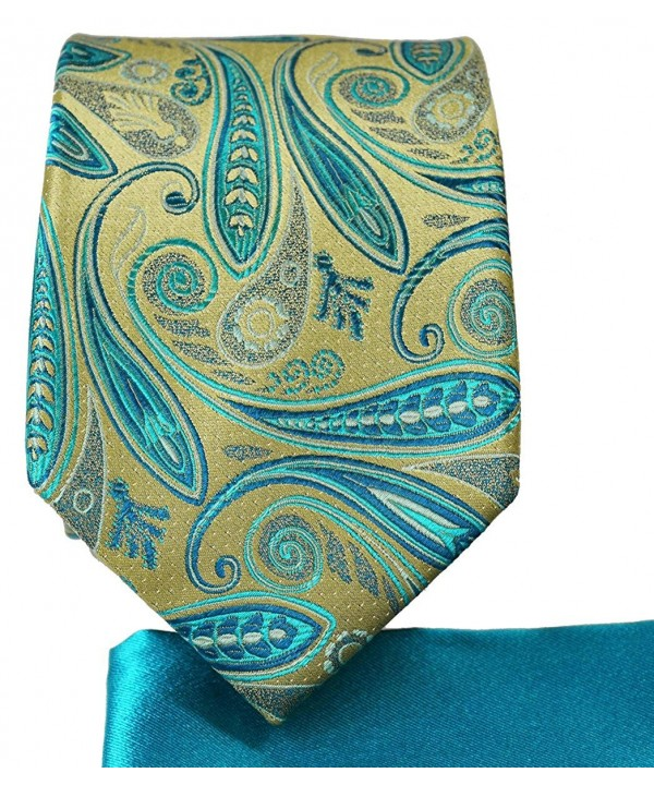 Gold Turquoise 7 fold Pocket Square