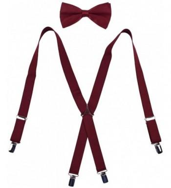 WDSKY Mens Suspenders Adjustable Burgundy
