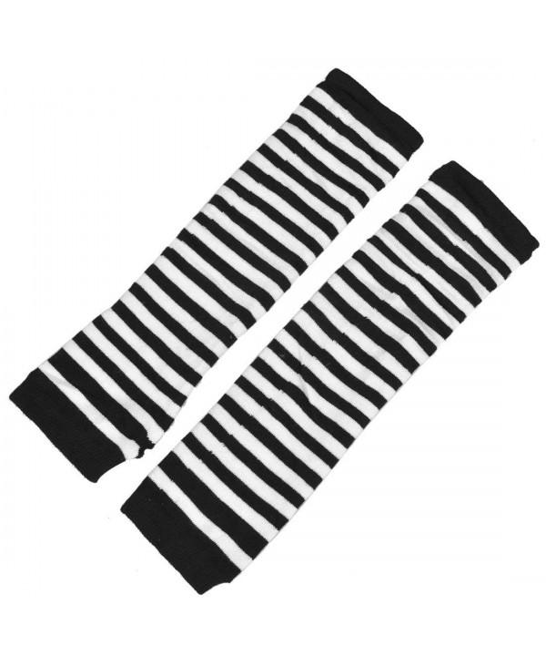 Stripe Pattern Thumbhole Fingerless Warmers