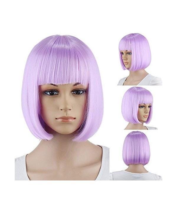 Purple Party Short Straight Bangs