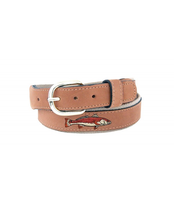 many fashionable buying cheap wholesale dealer Men's Tan Leather Embroidered Redfish Belt - Tan/Buff ...
