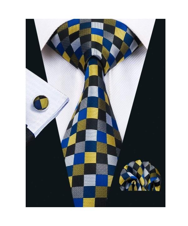 Hi Tie Plaid Hanky Cufflinks Woven
