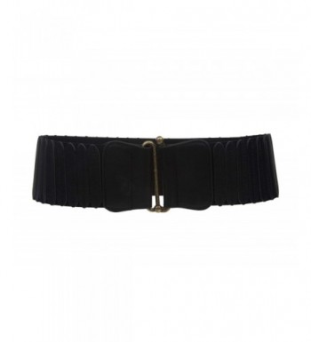 Womens 3 Wide High Elastic Waist Belt With Metal Hook Buckle