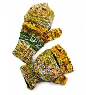 Mens Hand Knit Striped Glittens