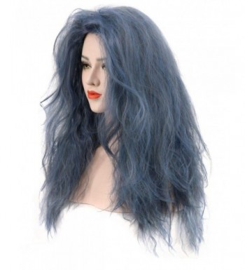 Dark Blue Long Curly Fluffy Wig Halloween Cosplay Witch Wig Costume Party  Wig   C0185MHN5KT