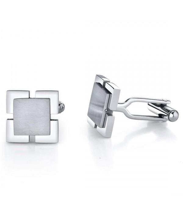 Ultimate Personality: Stainless Steel Dual-Tone Square Cufflinks for Men -  CJ1154COVGF
