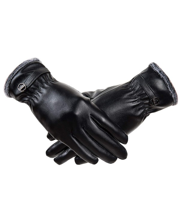RYOMI Winter Leather Gloves Fleece