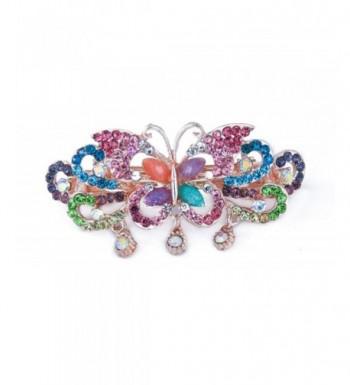 Yeshan Rhinestone Butterfly Barrette Multicolor
