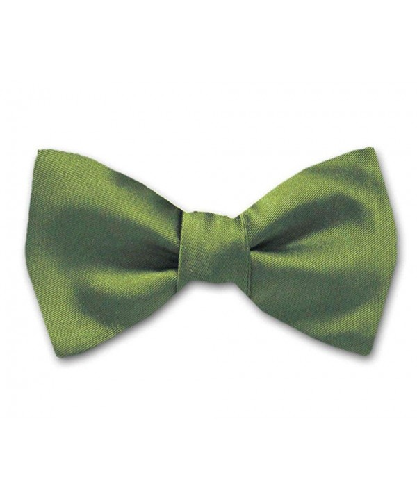 Olive Solid Color Pre Tied Bow