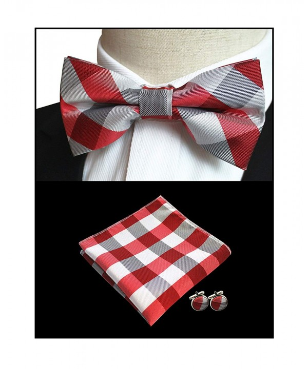 White Checks Wedding Polyester Bowtie