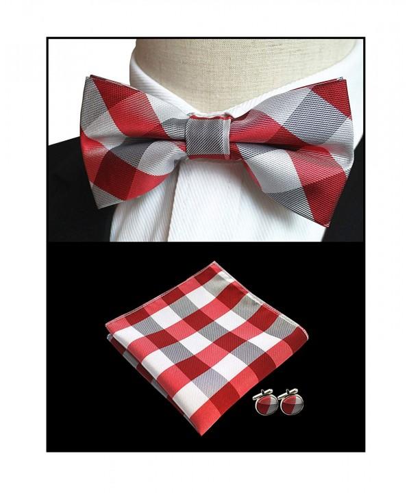 White Checks Wedding Polyester Bowtie