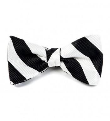 Woven Black White Striped Self Tie