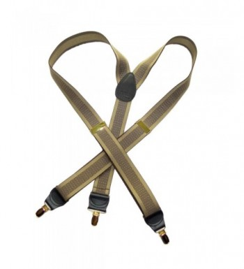 Jacquard Suspenders patented No slip Gold tone