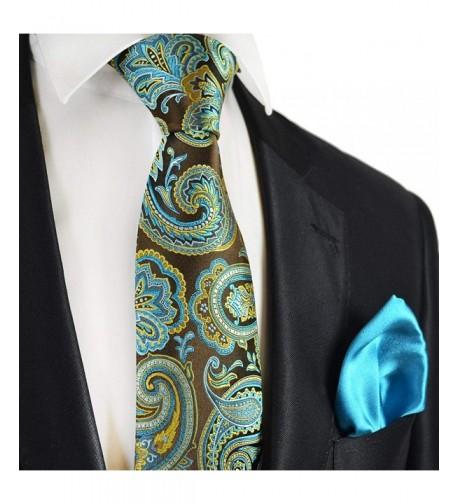 Turquoise Paisley 7 fold Pocket Square