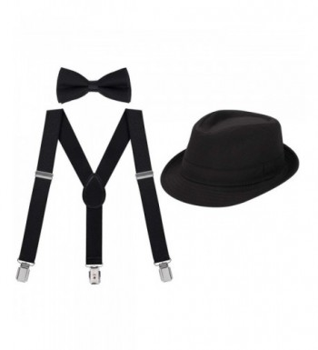 HDE Adjustable Suspenders Pre Tied Fedora x
