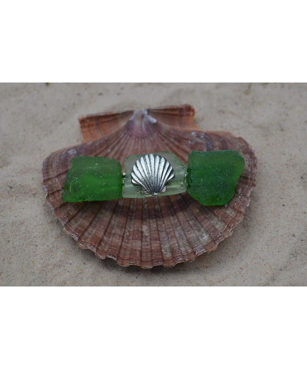 Green White Glass Hair Shell